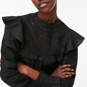 J. Crew Crocheted Lace Ruffle Top Black XXS